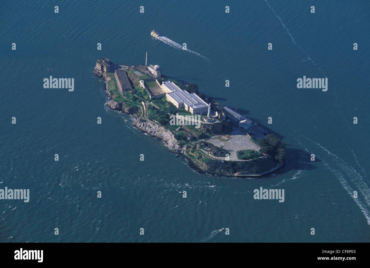 Alcatraz, San Francisco Bay, California, USA, United States, America, Aerial view, island, prison, tour boat, compound - Stock Image