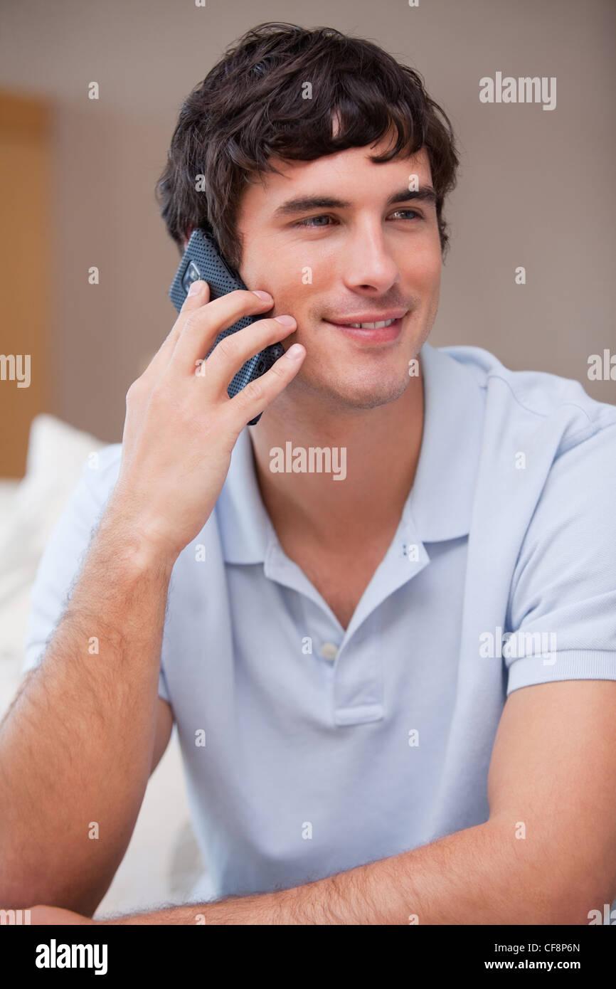 Man answering phonecall - Stock Image
