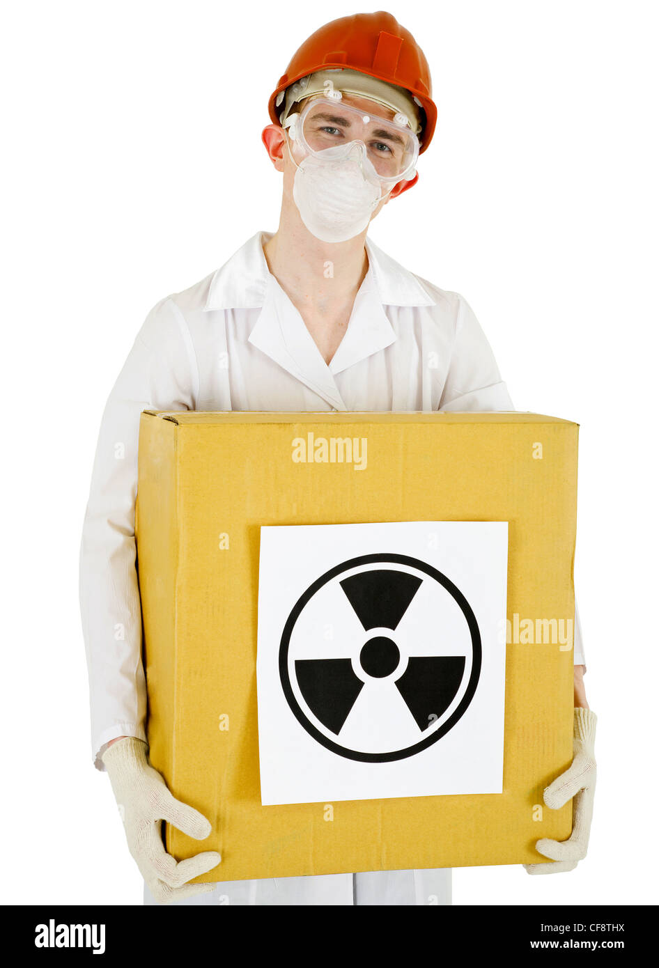 A scientist with a radioactive box isolated on white background - Stock Image