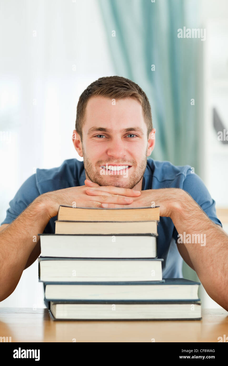 Student with his subject material - Stock Image