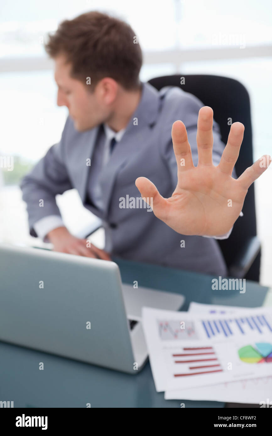 Hand being used to signal rejection - Stock Image
