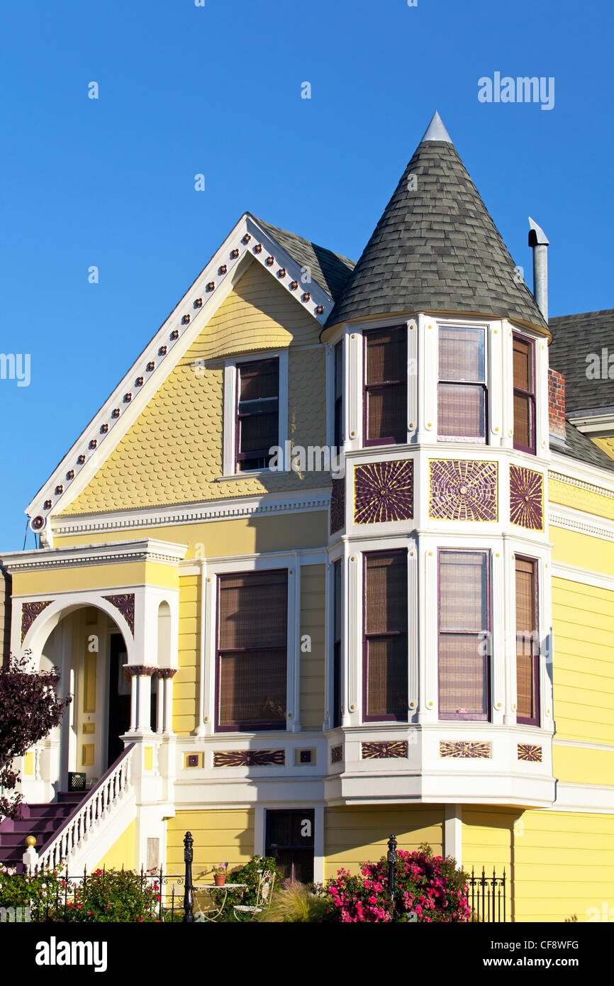 Typical Victorian House front, San Francisco, California, USA - Stock Image