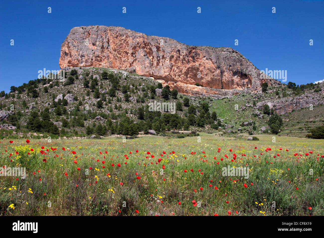Ruby Rock, a geological formation in Penarrubia. - Stock Image