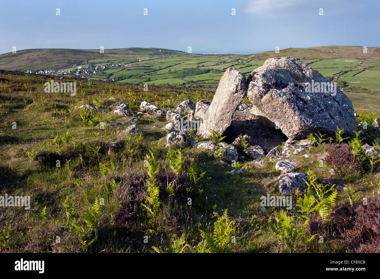 Sweynes Howes are standing stones and a burial chamber at Rhossili Down. - Stock Image