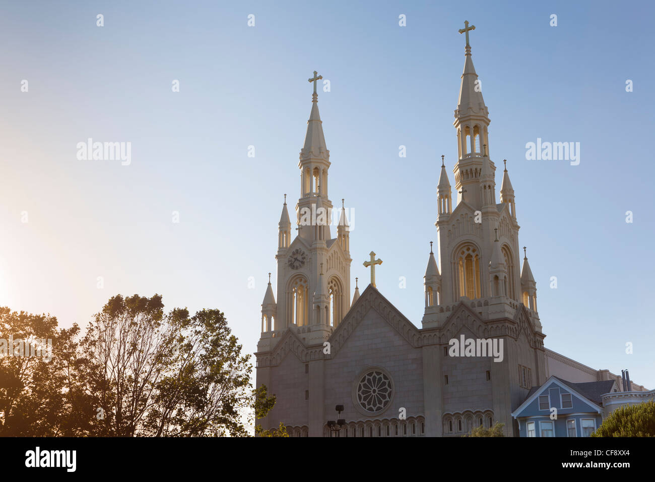 Saint Peter and Paul Church, Detail, Washington Square, San Francisco, California, USA - Stock Image