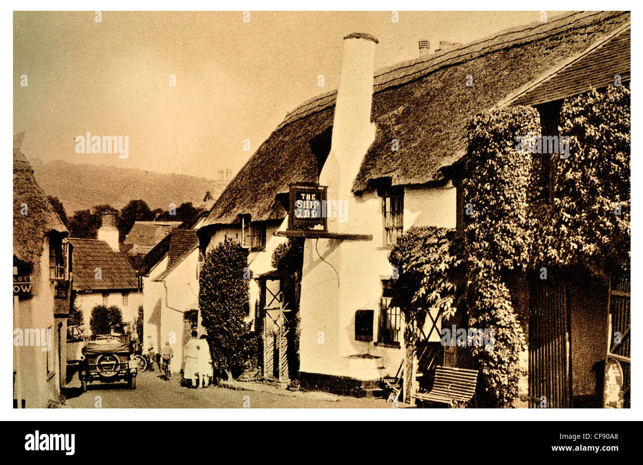 The Ship Inn Porlock thatched thatch public house pub tavern village Somerset South West England Europe UK tourism - Stock Image