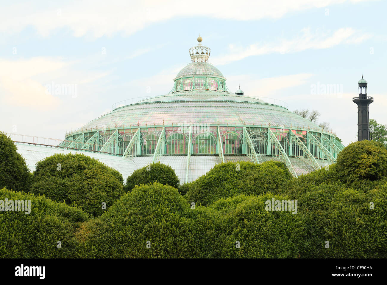 Belgium, Brussels, Laeken, the royal castle domain, the greenhouses of Laeken in spring, the Winter Garden. - Stock Image