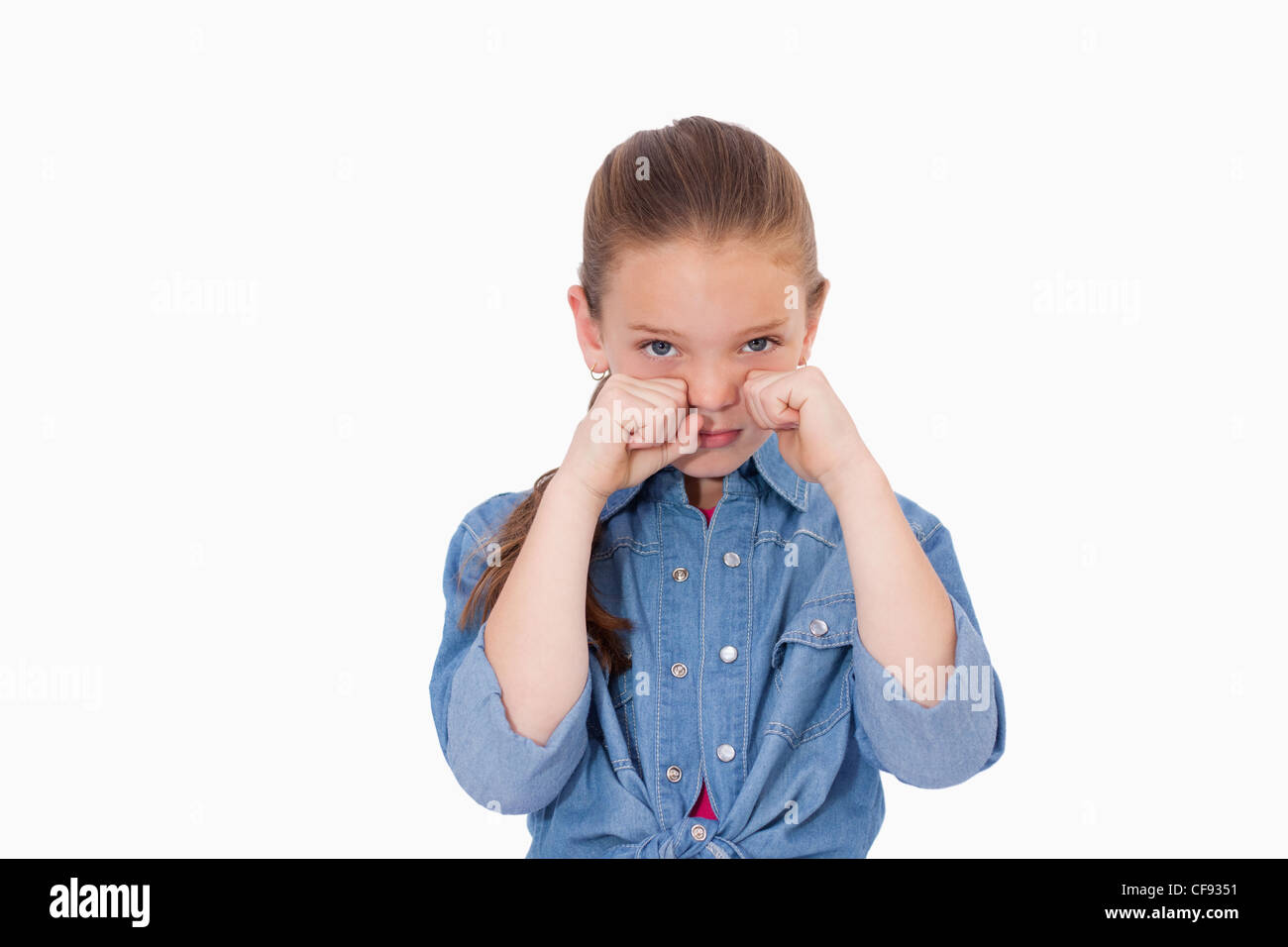 Lonely girl crying - Stock Image
