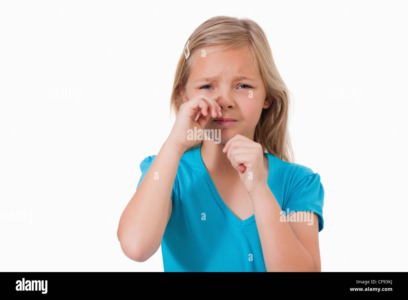 Lonely little girl crying - Stock Image
