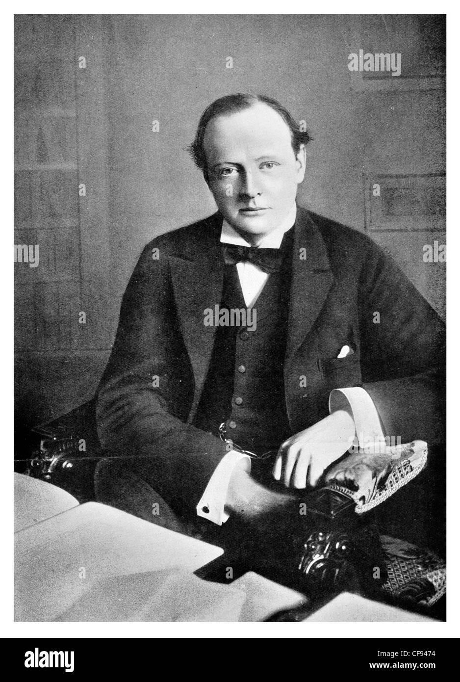 Sir Winston Leonard Spencer Churchill 1874 1965 British Conservative politician statesman Prime Minister officer - Stock Image