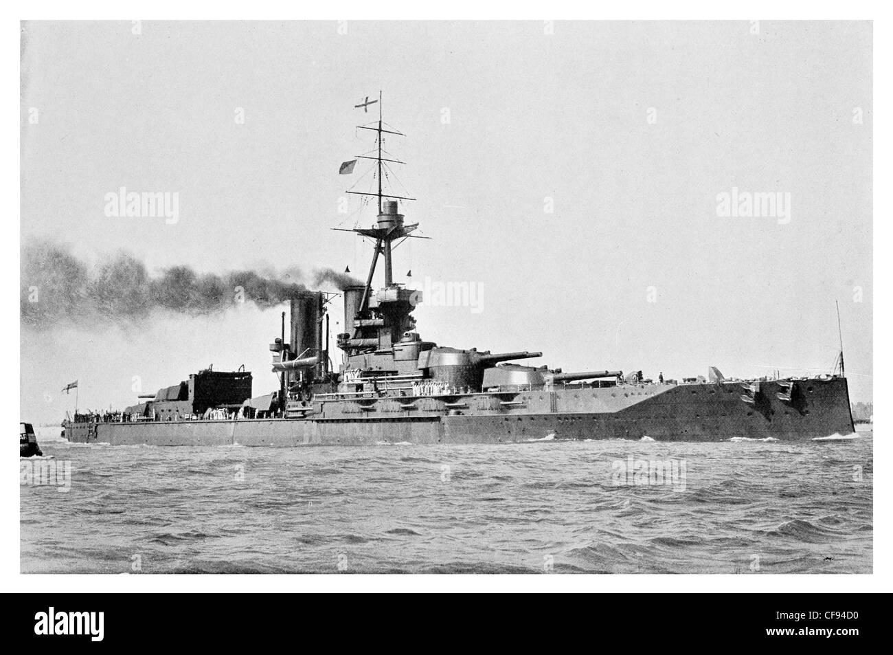HMS Iron Duke battleship Royal Navy flagship Grand Fleet warship turret guns gun Naval British - Stock Image