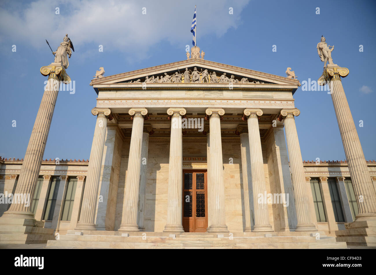 Frontal view of the Academy of Athens, Greece - Stock Image