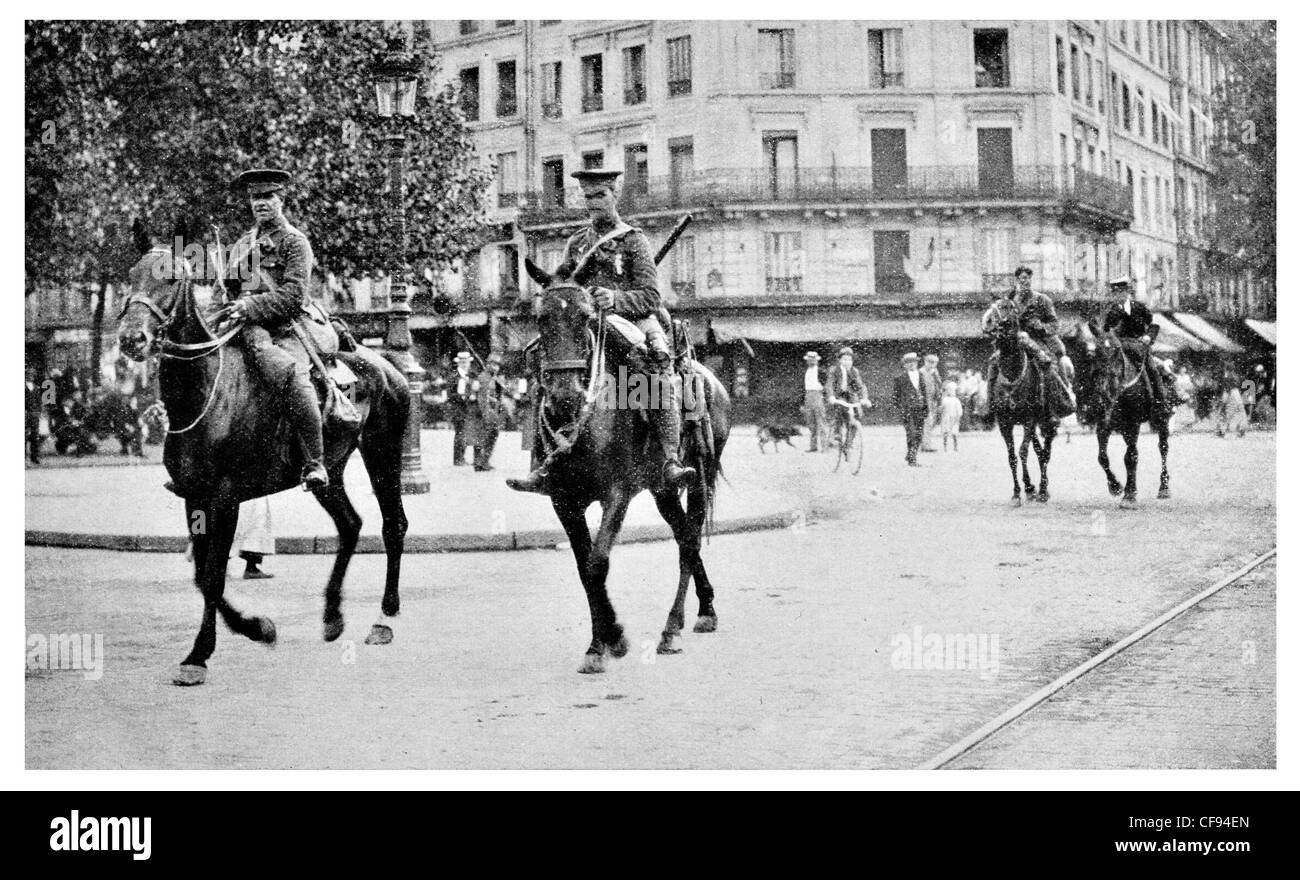 British Cavalry Corps in Paris Expeditionary Force Army France mounted horse patrol riding regiment brigade division - Stock Image