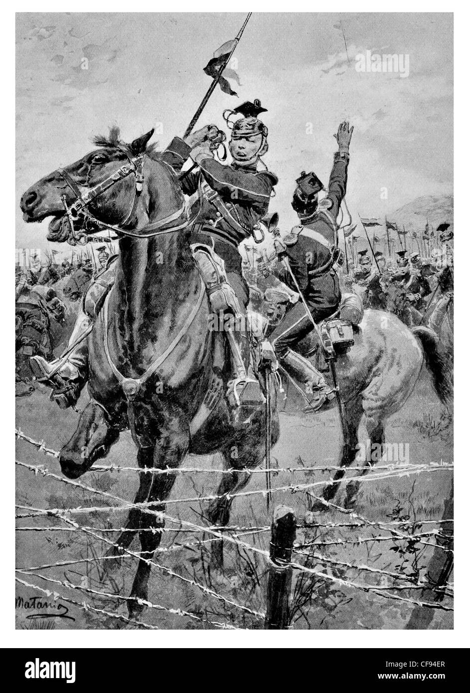 Uhlans cavalry barbed wire defence outside Liege Imperial German