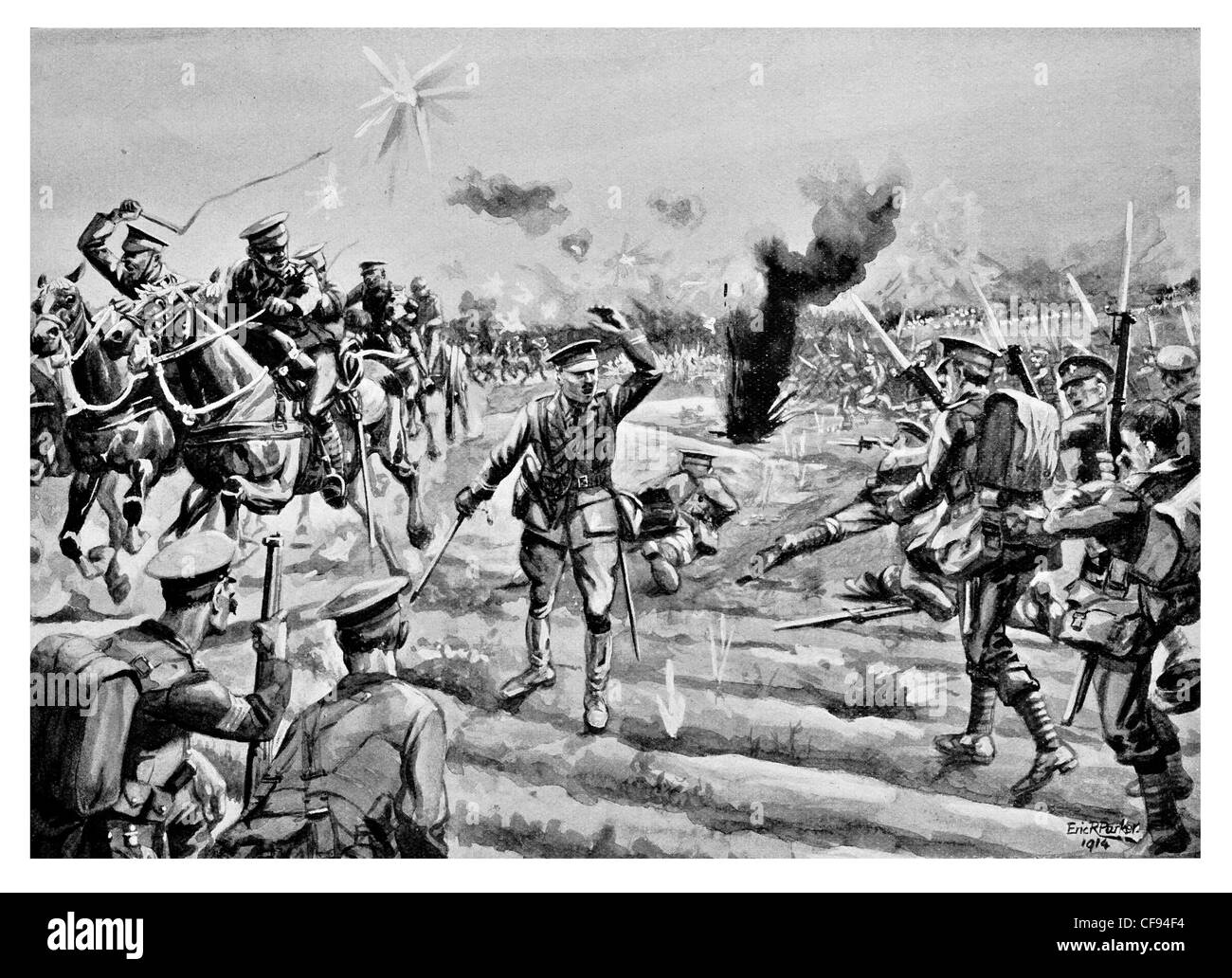 Bayonet charge The Connaught Rangers the Devil's Own Irish regiment British Army 88th Regiment of Foot front - Stock Image
