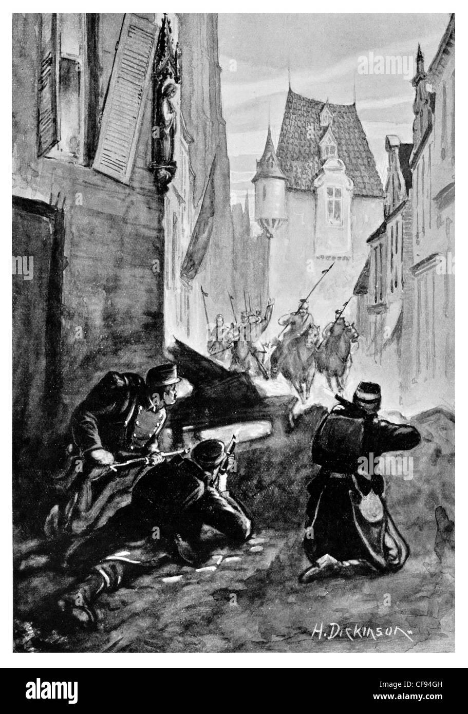 Street fighting in Malines Mechelen City Hall Belgium cavalry charge under gun fire rifle shot shooting defense - Stock Image