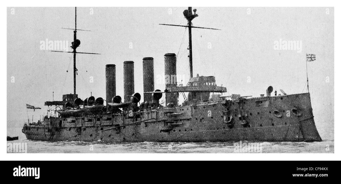 HMS Aboukir Cressy-class armoured cruiser.Rear Admiral Henry H Campbell's 7th Cruiser Squadron. Stock Photo