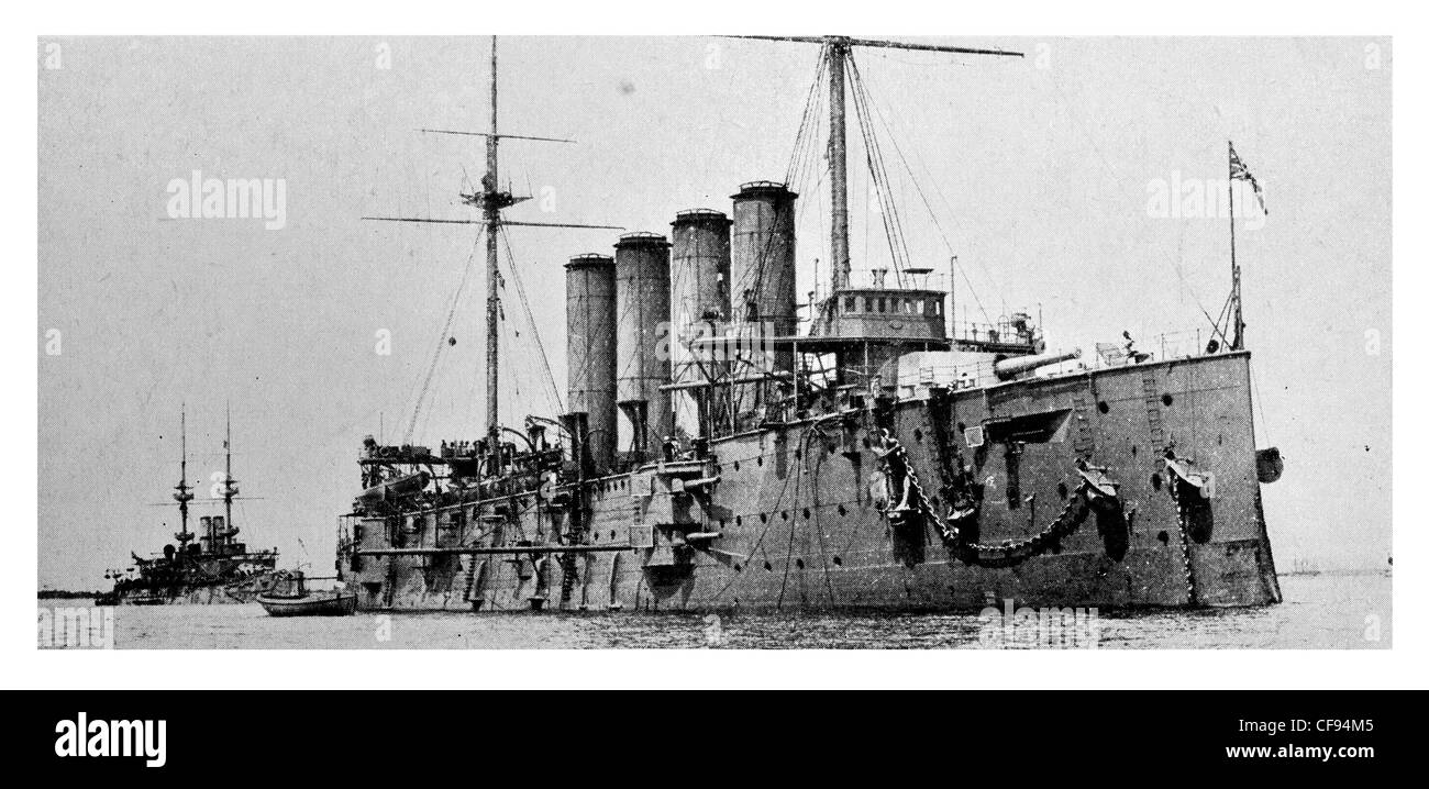 HMS Cressy was a Cressy-class armoured cruiser in the Royal Navy. Cressy was sunk on 22 September 1914 Stock Photo