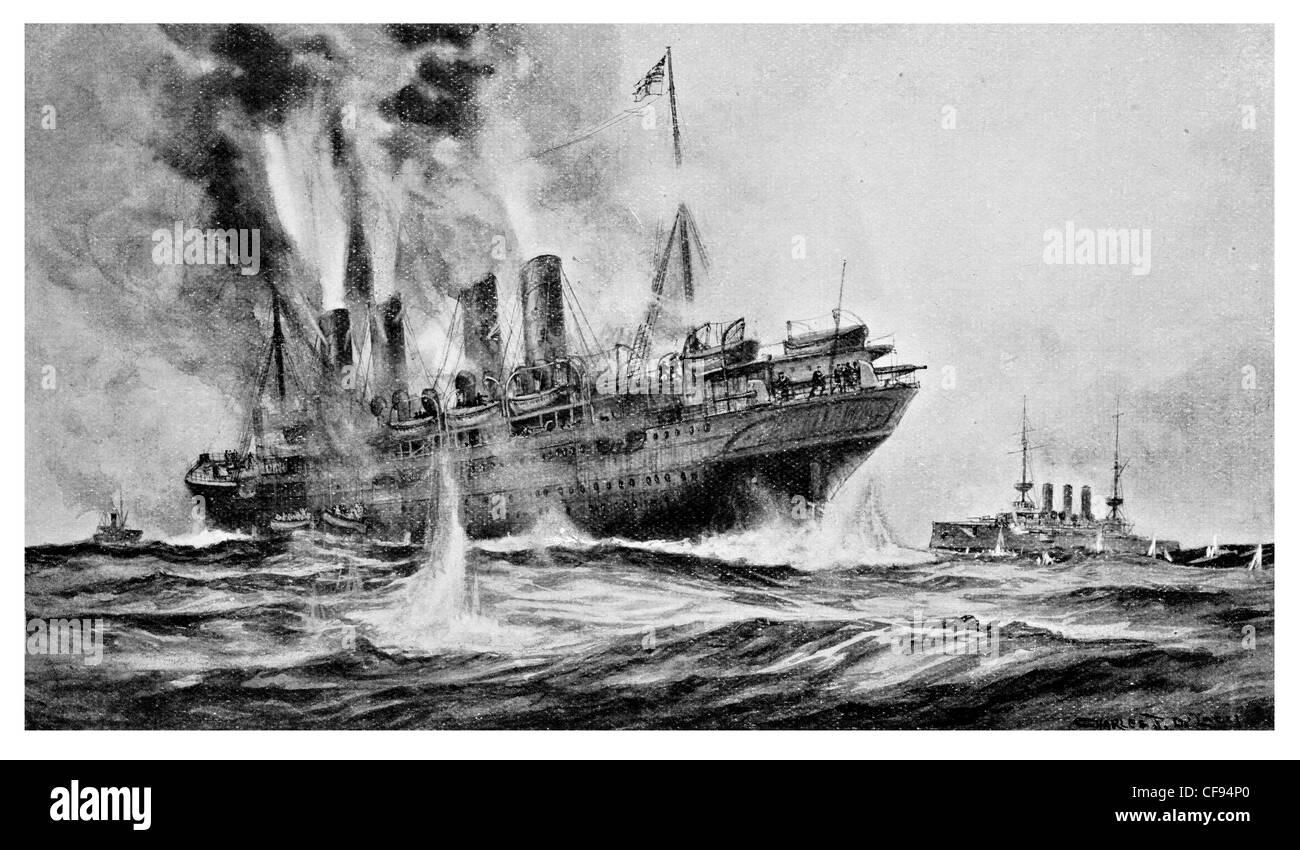 Sinking of the Kaiser Wilhelm Der Grosse by HMS Highflyer - Stock Image