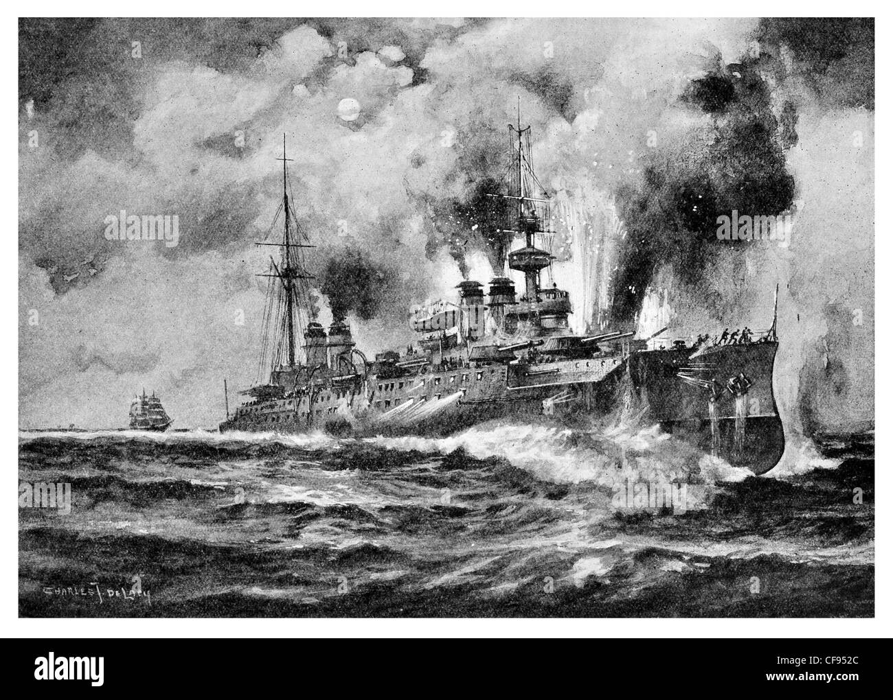 Léon Gambetta  a French Navy armoured cruiser 12,400 tons,  lead ship her class Torpedoed by Austrian Submarine Stock Photo