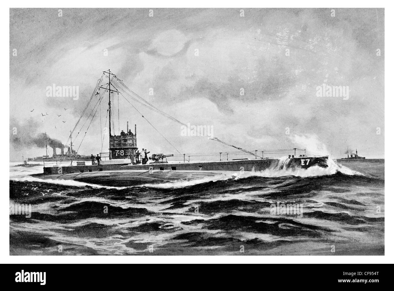 British submarine flotilla operated in the Baltic Sea for three years during the First World War - Stock Image