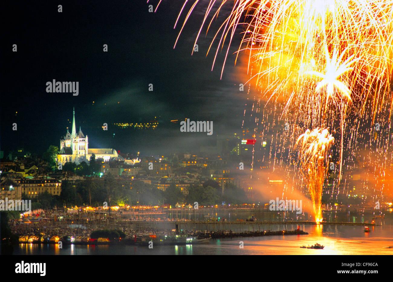 Switzerland, Europe, Geneve, Geneva, Lac Leman, cityscape, fireworks, cathedral - Stock Image