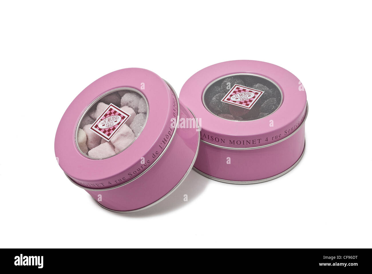 Pink metal boxes containing making sweets (Moinet's Firm at Vichy - France). Boîtes métalliques roses - Stock Image