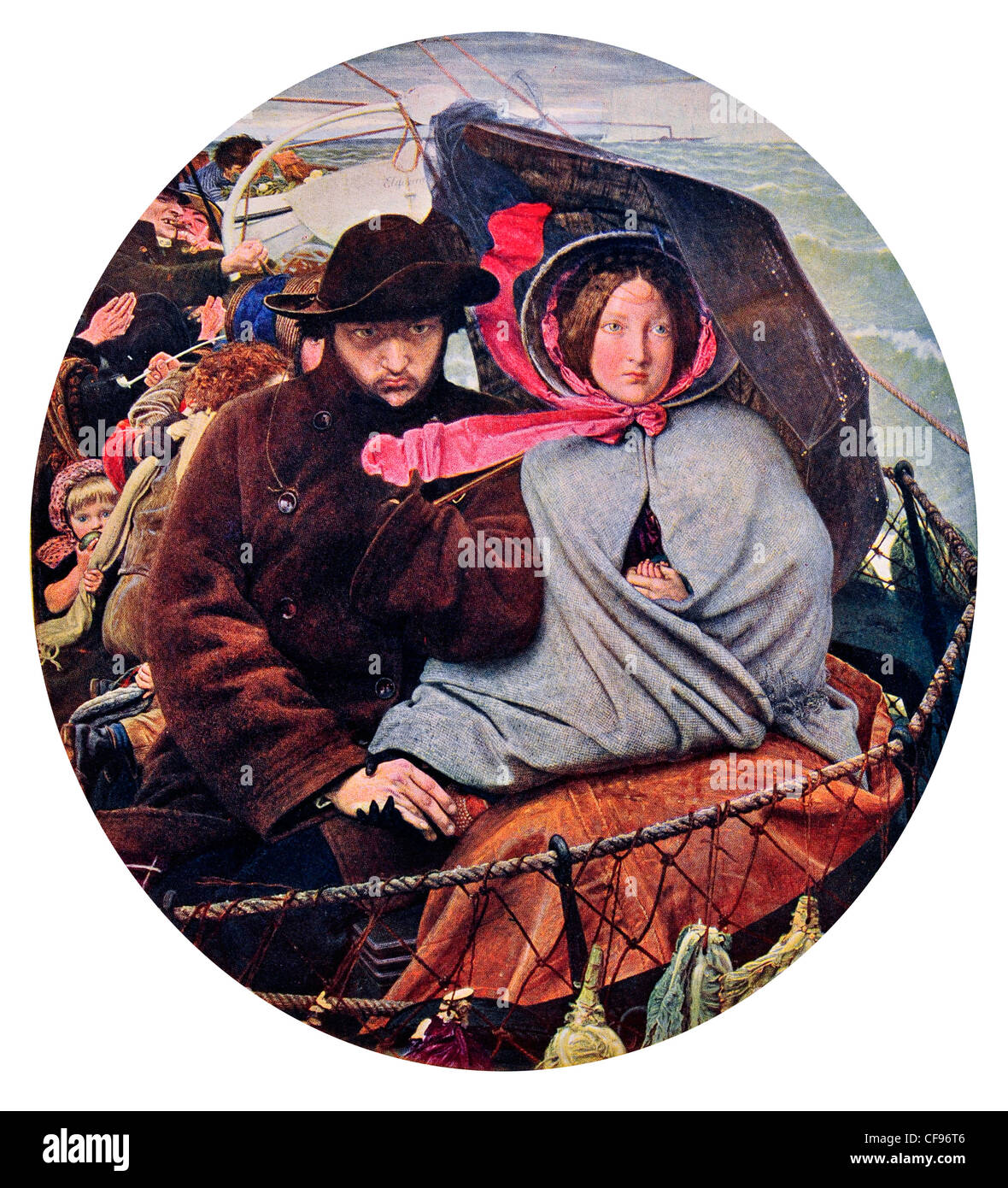 The Last of England by Ford Madox Brown voyage migration immigration husband wife umbrella storm passenger ferry - Stock Image