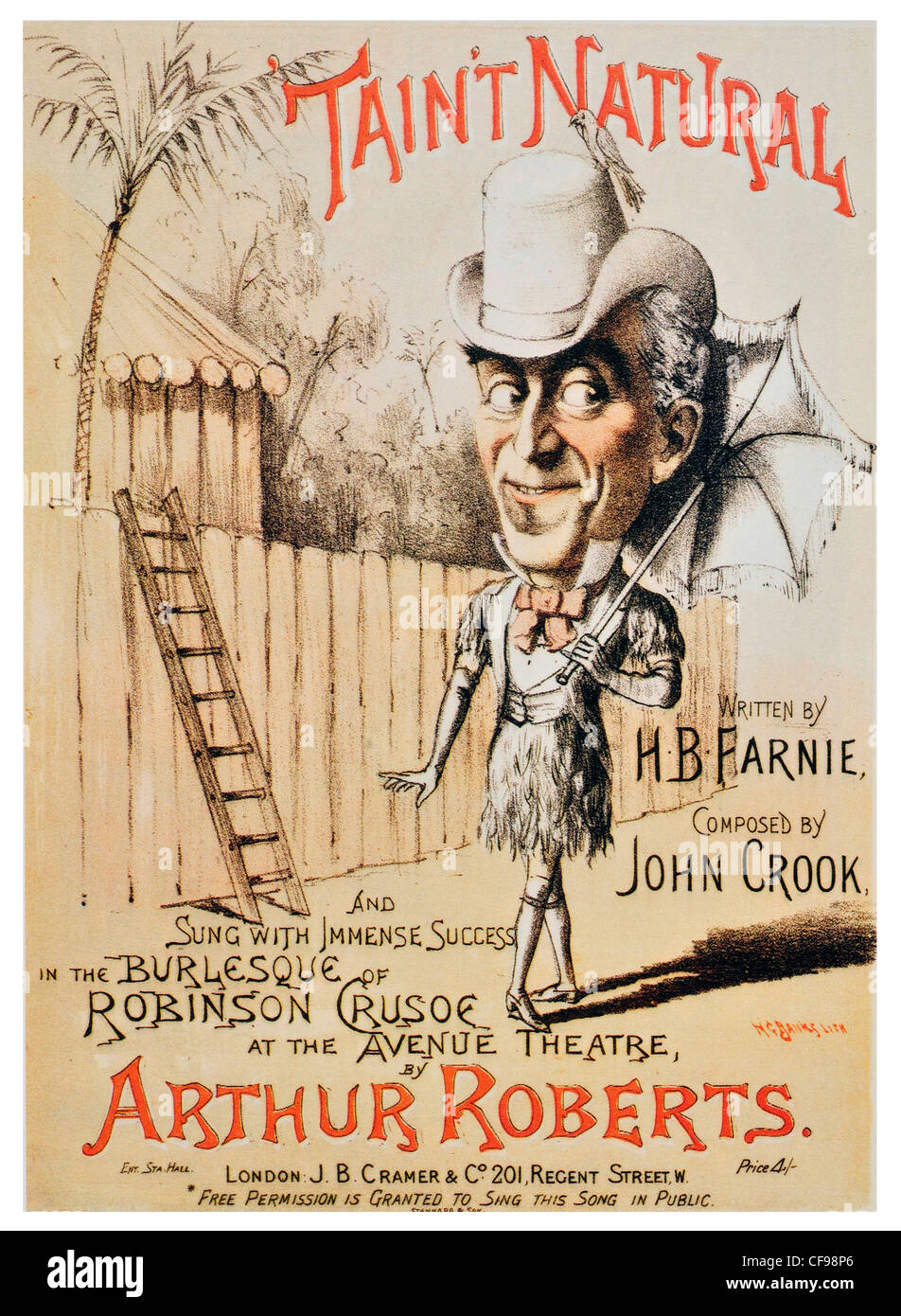 1886 Taint Natural Avenue Theatre by Arthur Roberts John Crook HB Farnie - Stock Image
