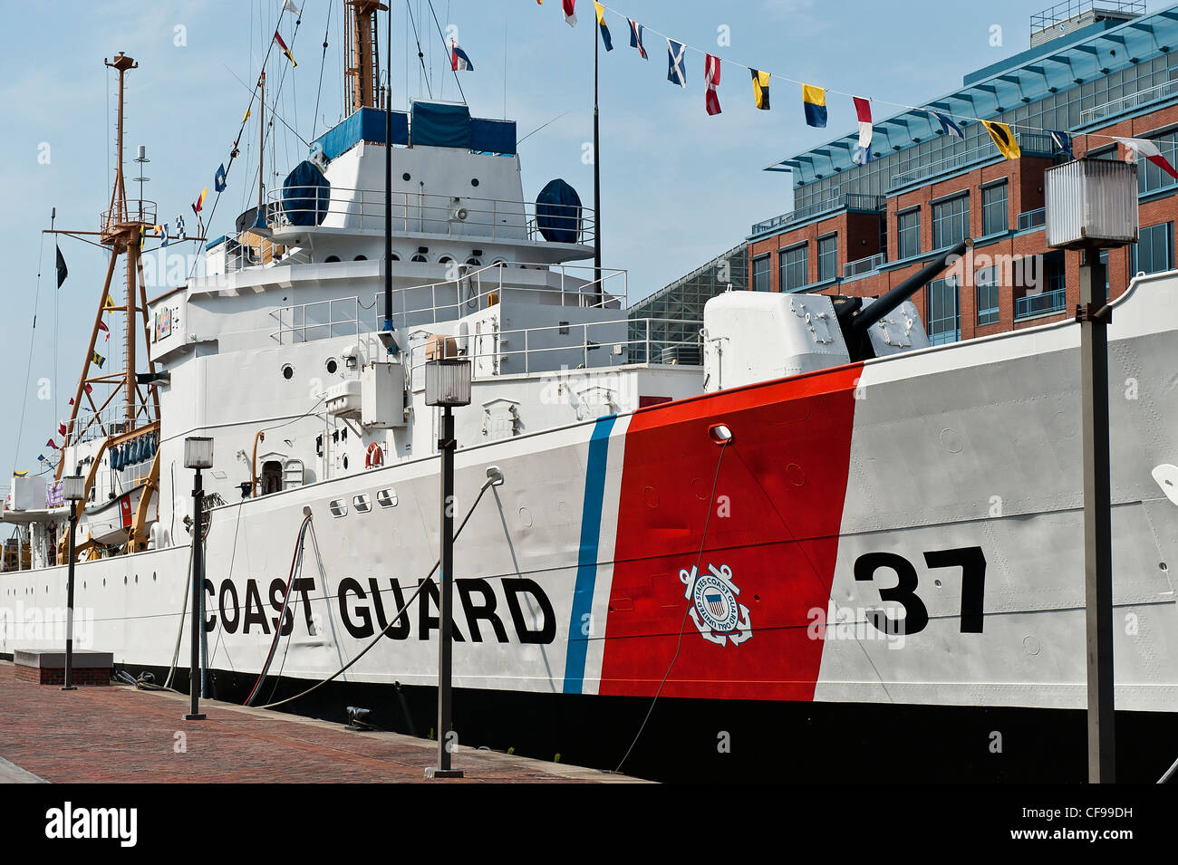 USCGC Taney, Coast Guard cutter now maritime museum ship, Inner Harbor, Baltimore, Maryland, USA - Stock Image