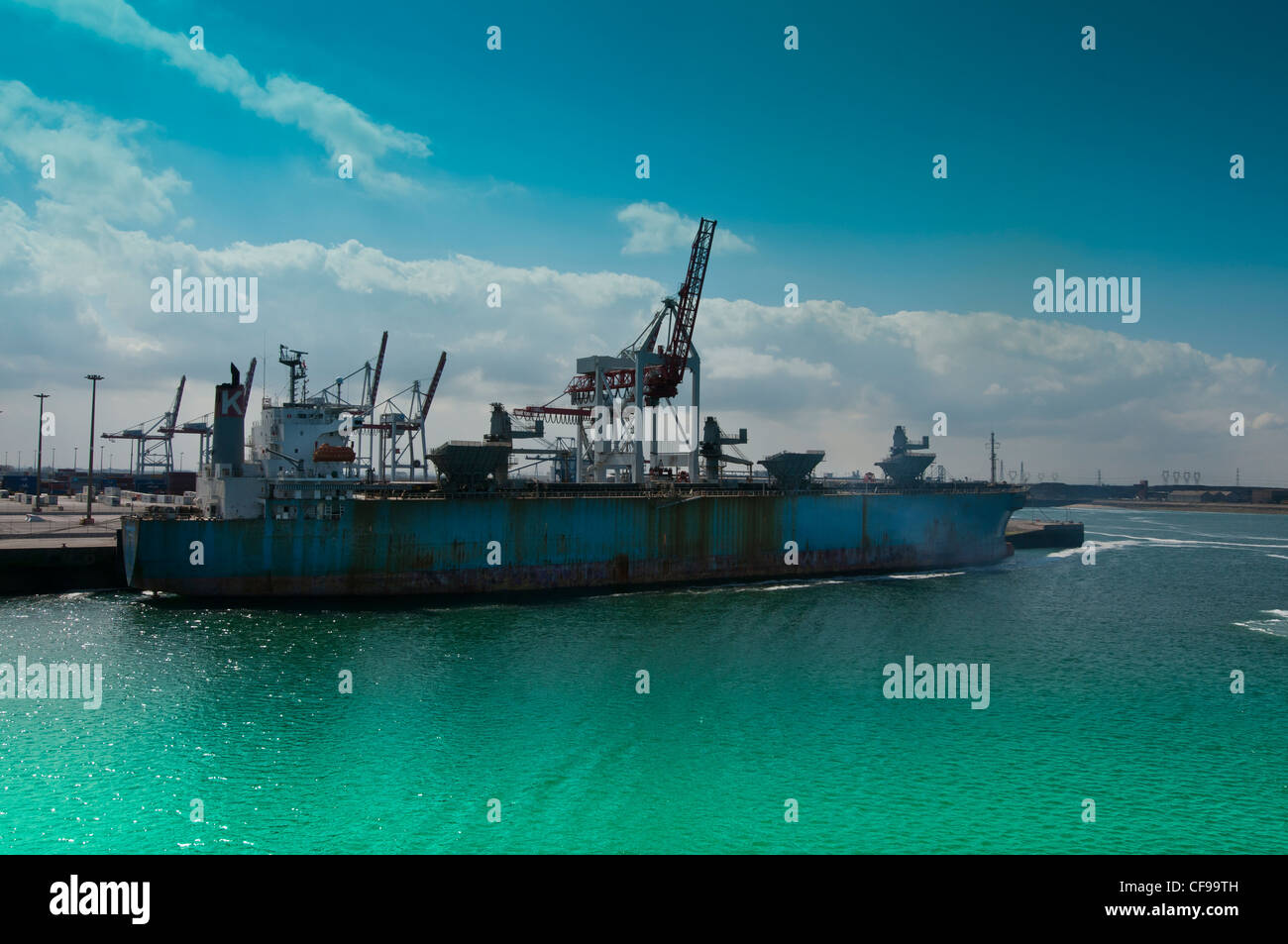docking ferry at Dunquerque harbour, France, Europe - Stock Image