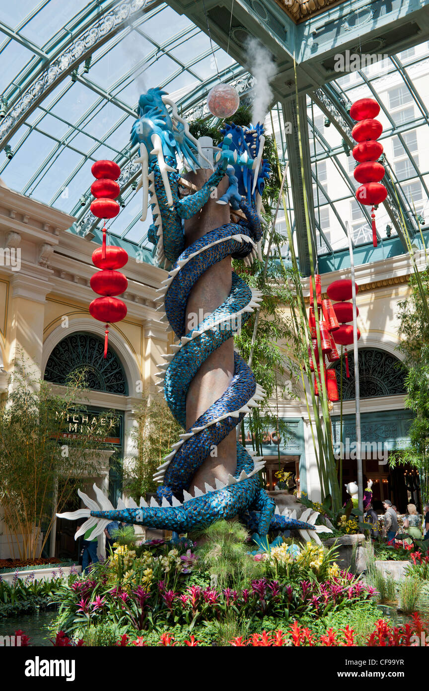 the bellagio conservatory gardens with a chinese new year theme year of the dragon 2012 las vegas usa