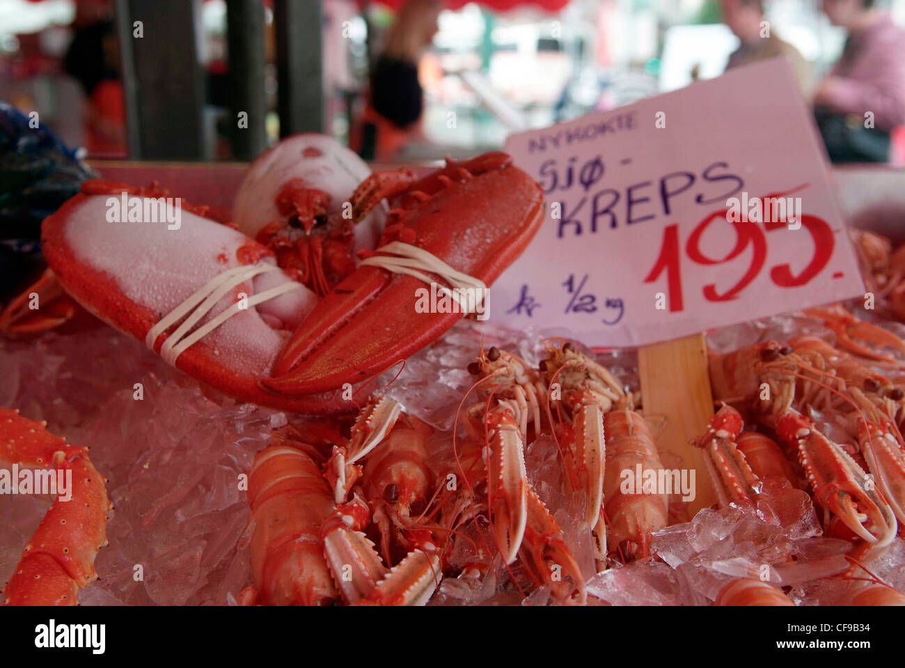 NORWAY Bergen Fish Market carb and langoustine for sale - Stock Image