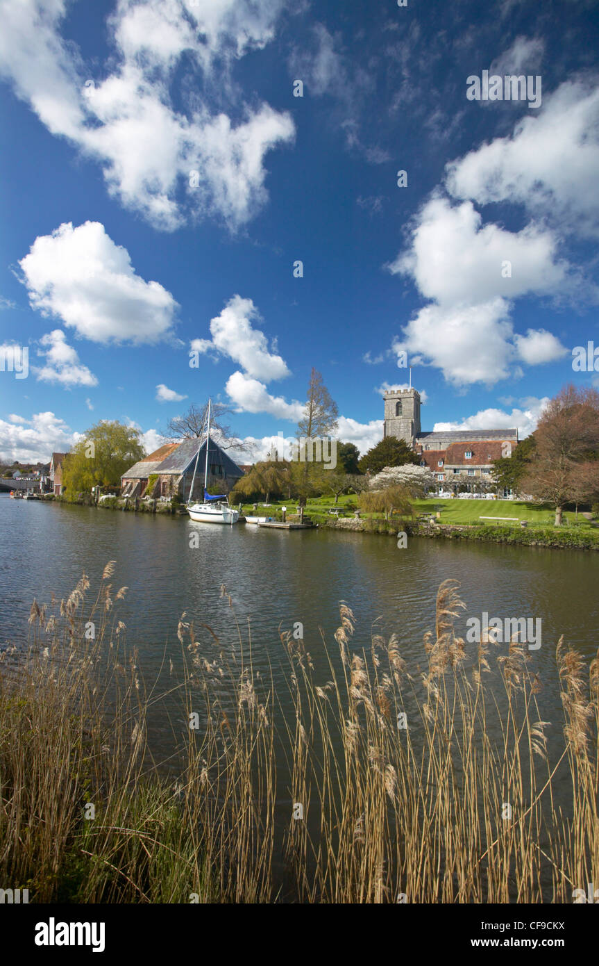 River Frome and Lady St Mary Church, Wareham, Dorset, England, UK - Stock Image