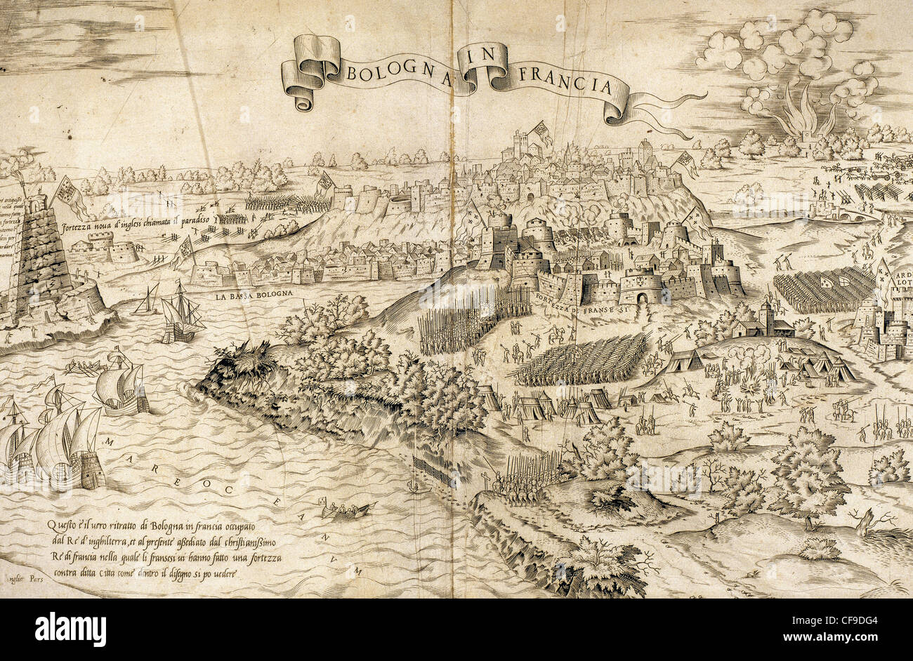Italian War of 1542-1546. Siege of Boulogne (1544) during king Henry VIII  of England's third invasion of France.