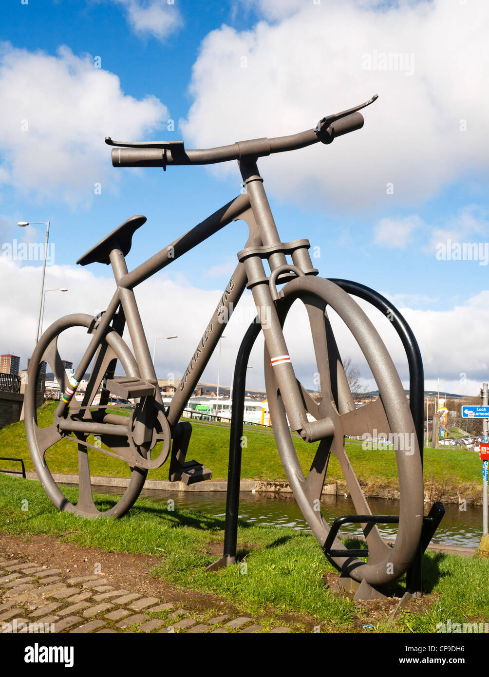 Giant statue named the Bankies Bike designed by artist John Crosby, Clydebank, Scotland. - Stock Image