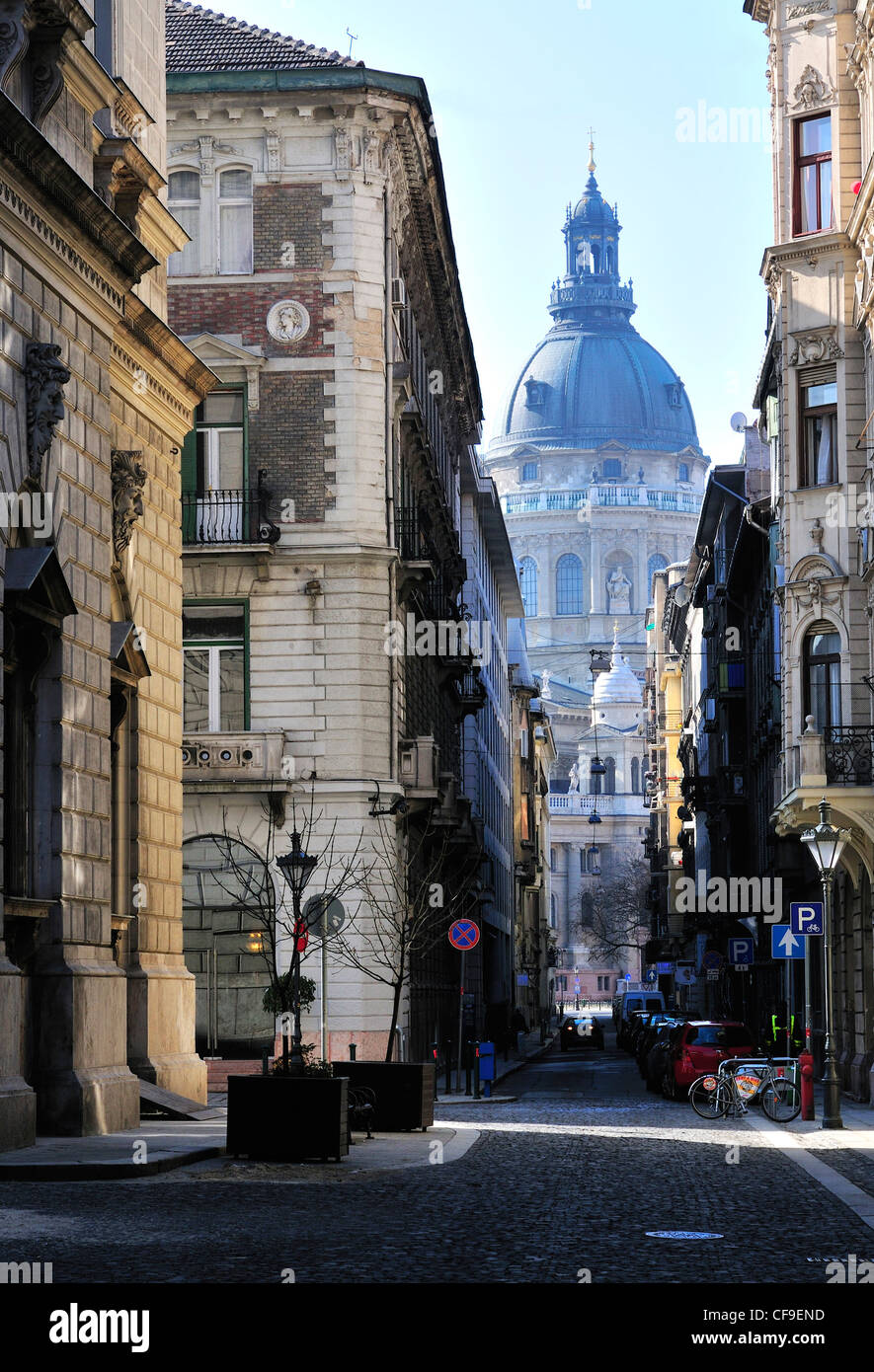 St Stephen´s Basilica, Budapest, Hungary  seen through a side street  in the  capital - Stock Image