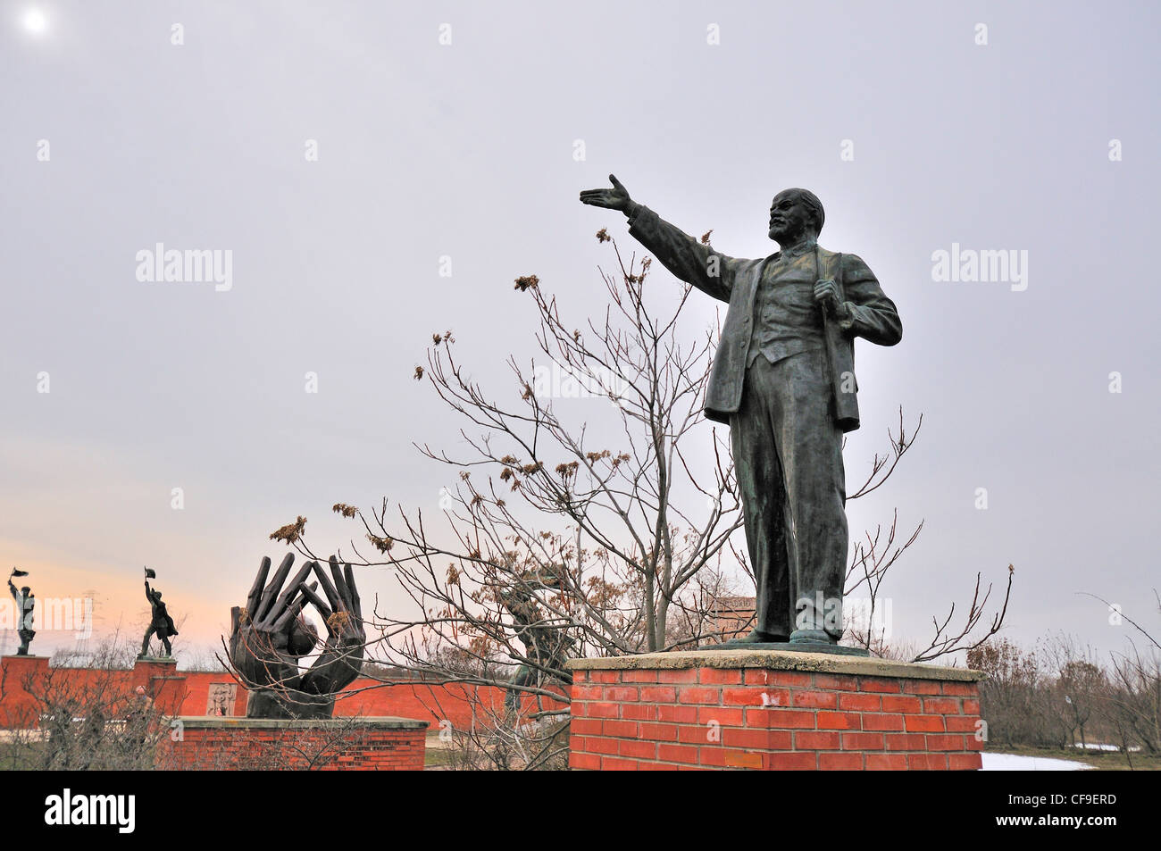 Memento Park, Budapest, Hungary. The open-air museum or Statue Park displaying politically themed statues and sculpted Stock Photo