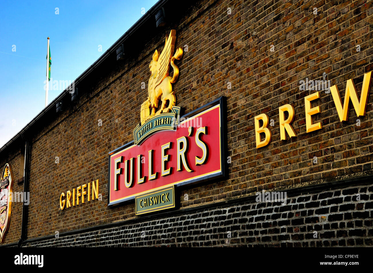 Logo of Fullers brewery on brick wall,Chiswick, London - Stock Image