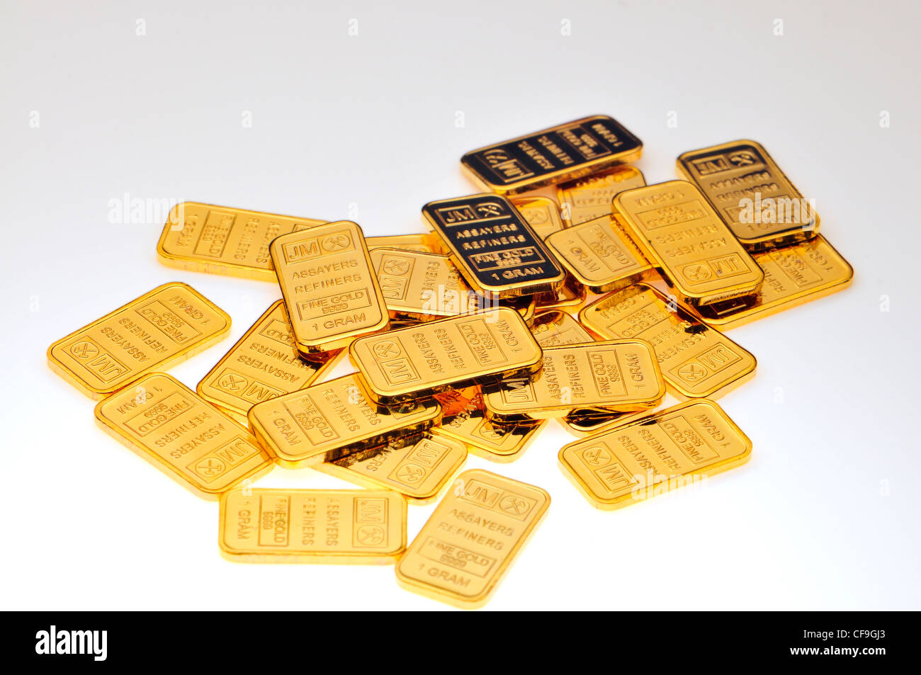 Small 1g Gold bars / ingot (plated replicas) - Stock Image