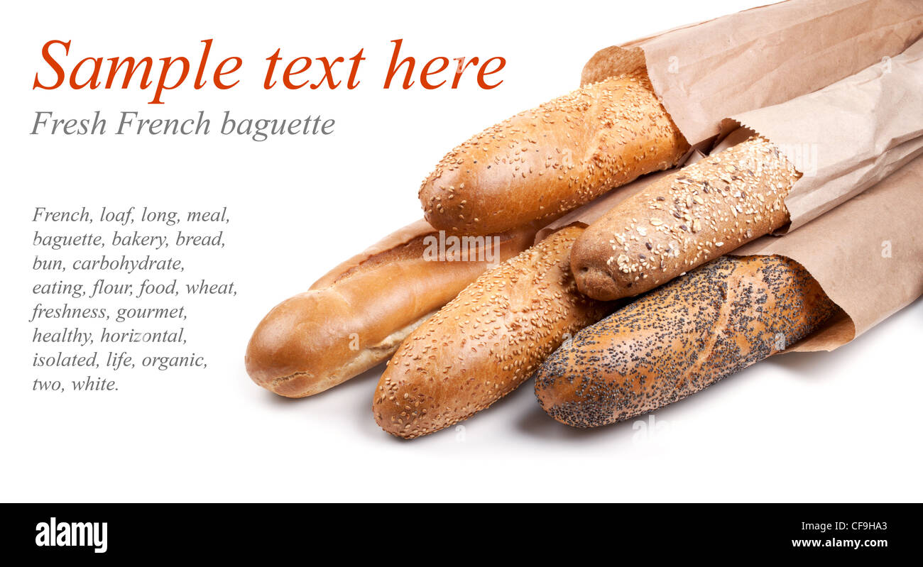 Fresh French baquette on white with sample text - Stock Image
