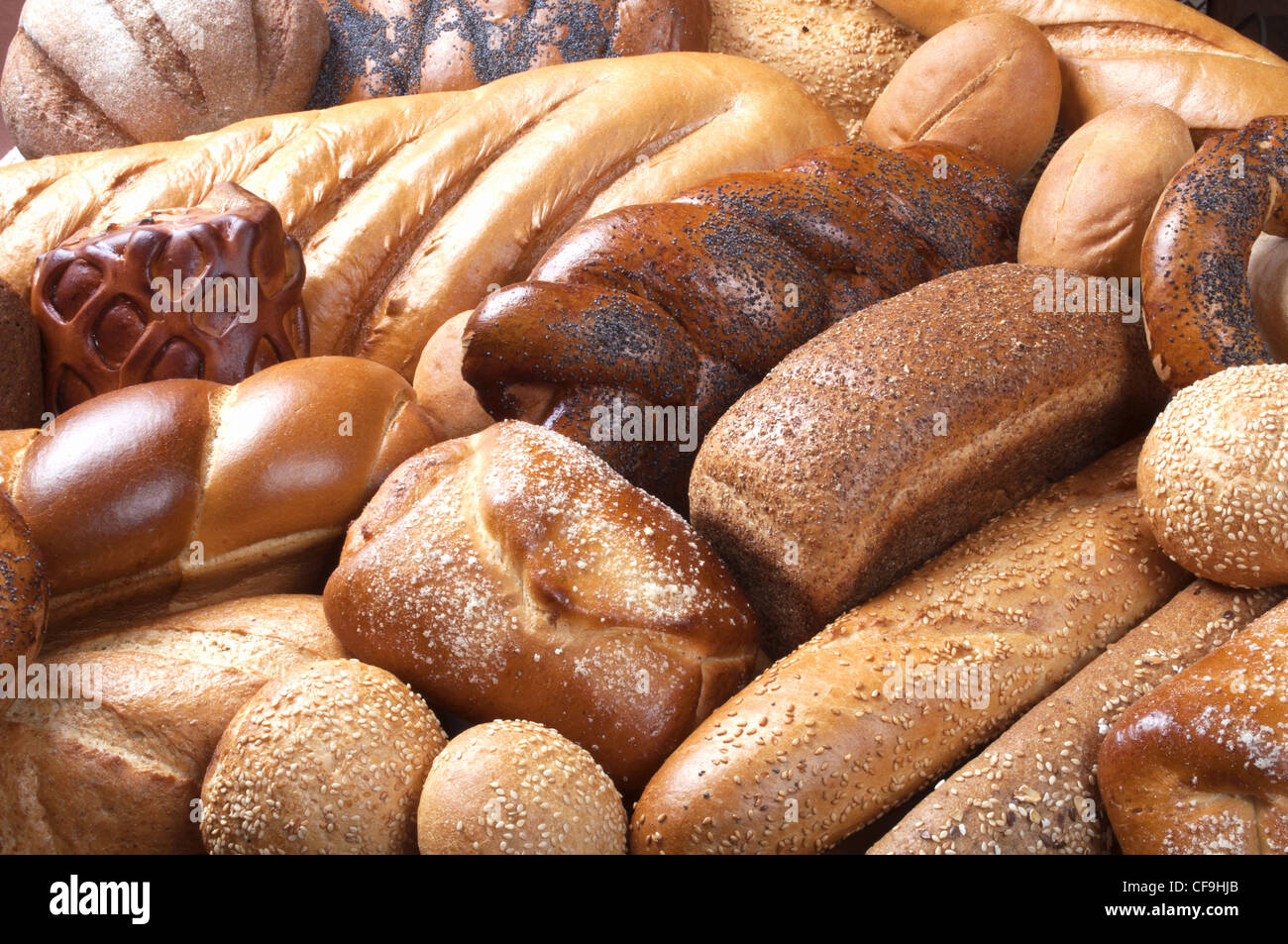 background with assortment of fresh pastry - Stock Image