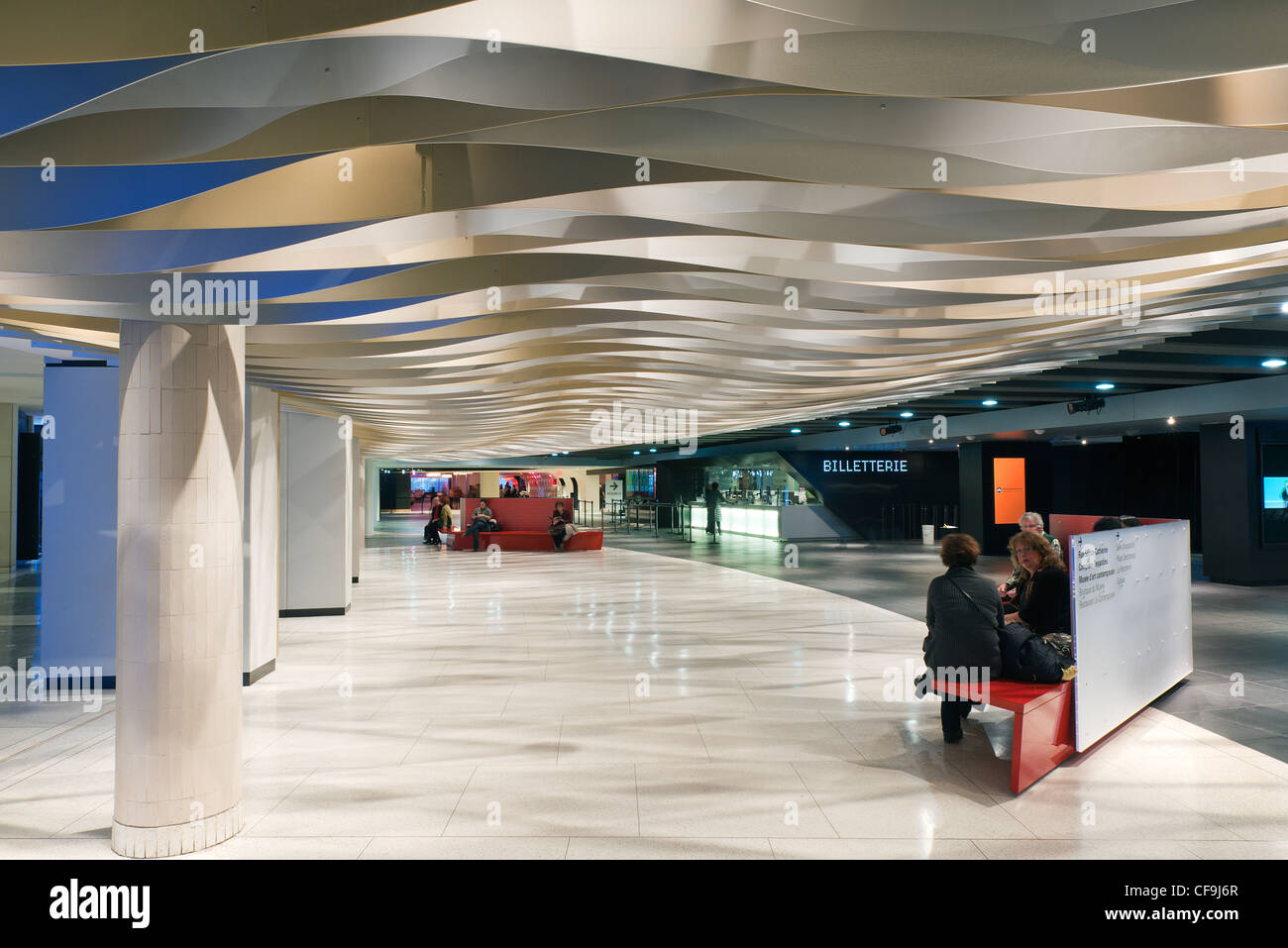 Entrance to Wilfrid-Pelletier hall and ticket office, Place-des-Arts, Montreal, province of Quebec, Canada. - Stock Image