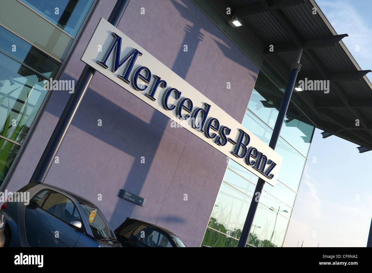 Mercedes Benz sign at Mercedes World at Brooklands, Surrey Stock Photo