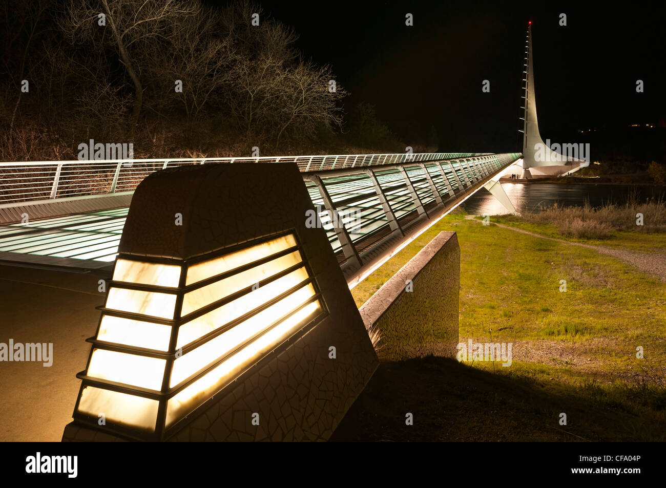 The unique and beautiful Sundial Bridge in Redding, California. - Stock Image