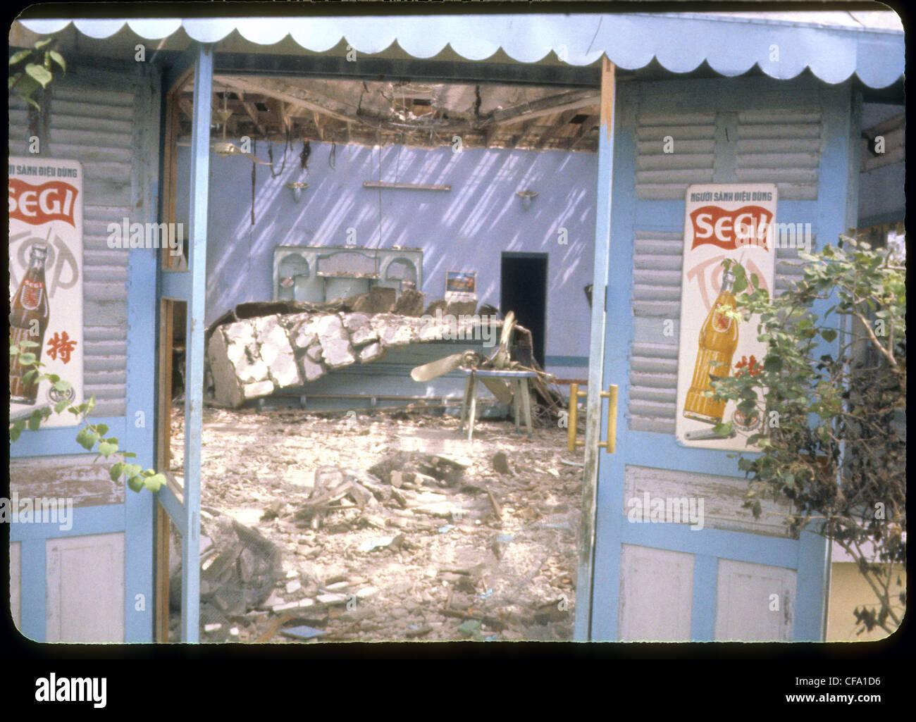 destroyed bar after attack during Vietnam War segi soft drinks vietnamese - Stock Image