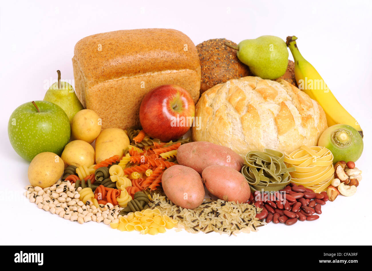 Carbohydrates and fruit still life - Stock Image