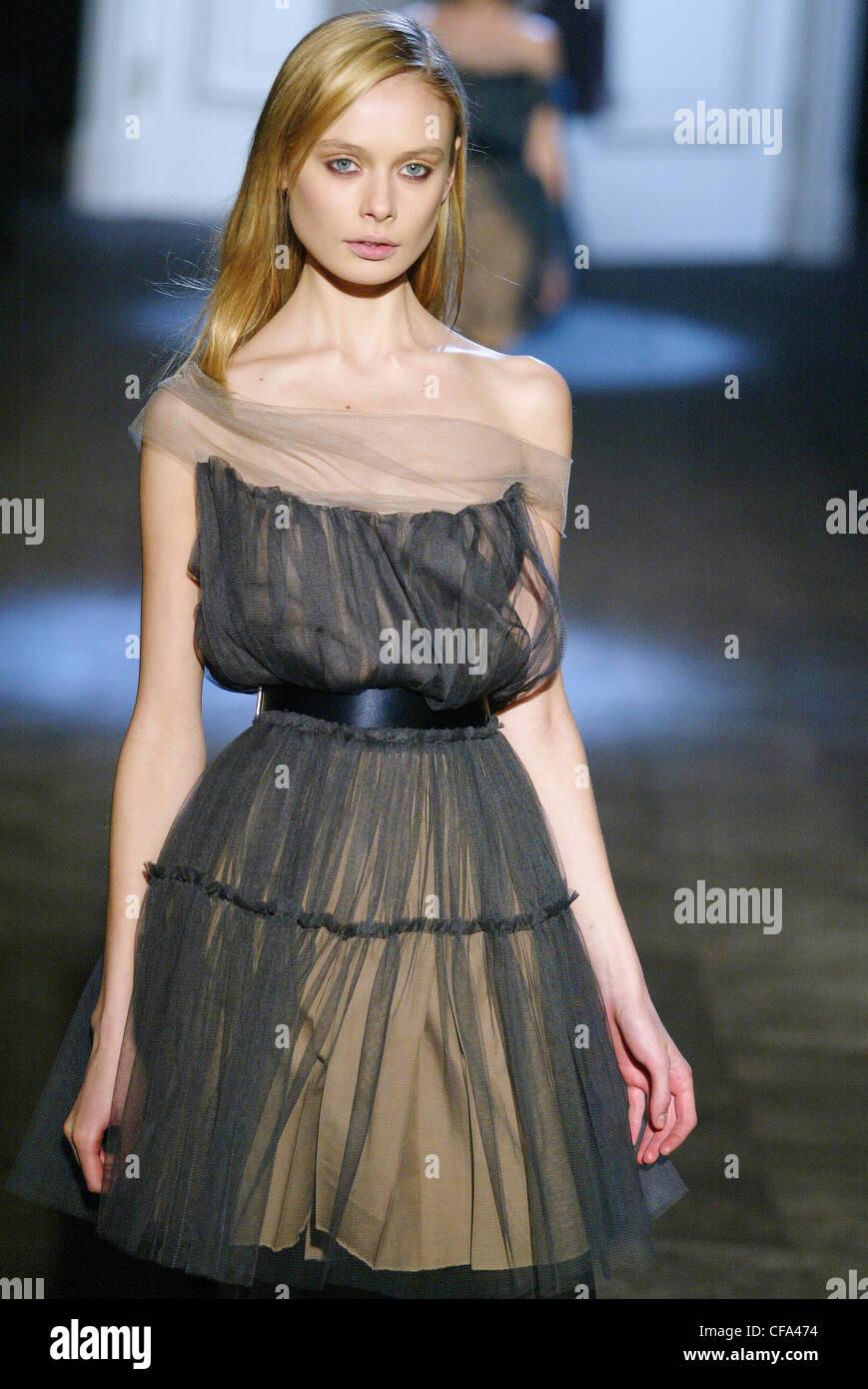 2e5b8dd2e3 Lanvin Ready to Wear Paris A W Model Inguna Butane long blonde hair wearing  beige dress grey