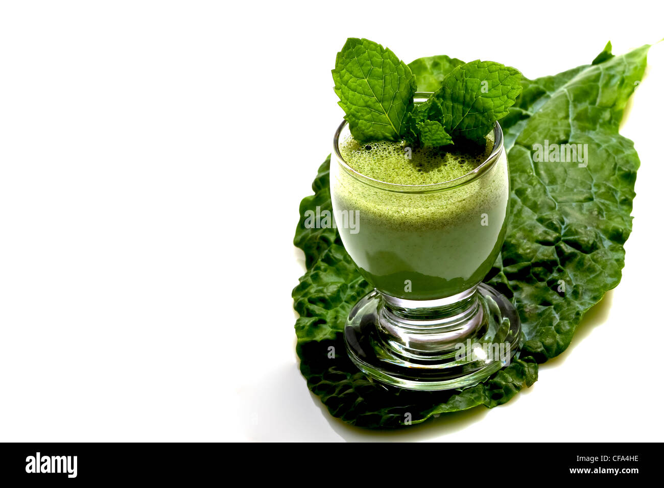 Glass of puree'd leafy vegtables with fiber - Stock Image