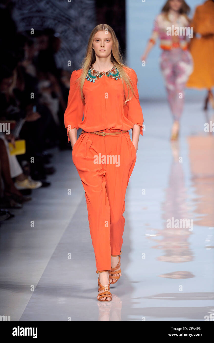 f1d06860b53 Etro Milan Ready to Wear Spring Summer Silk orange jumpsuit with turquoise  embellished neckline